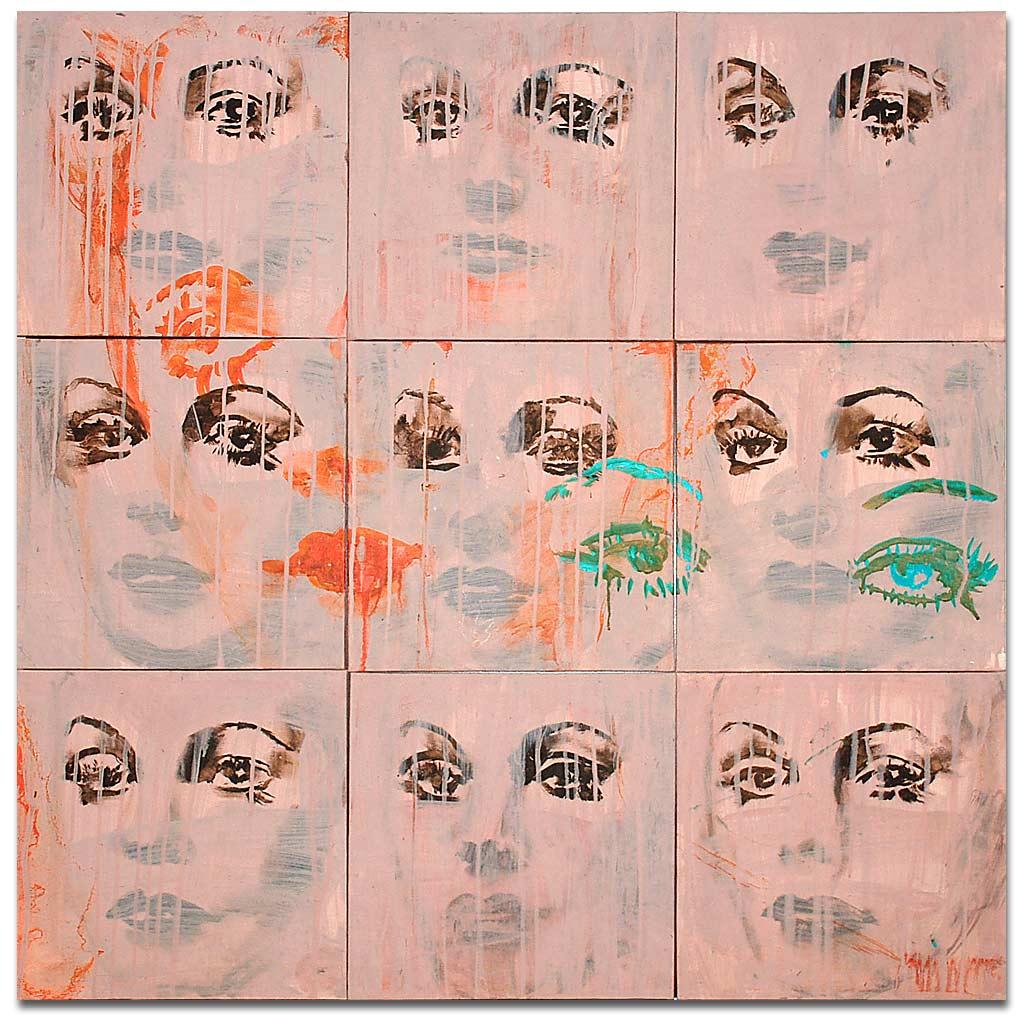 Johnny O'Brady - UNDERSTUDY 5 (Eyes). acrylic on canvas panels, 36 x 36 in