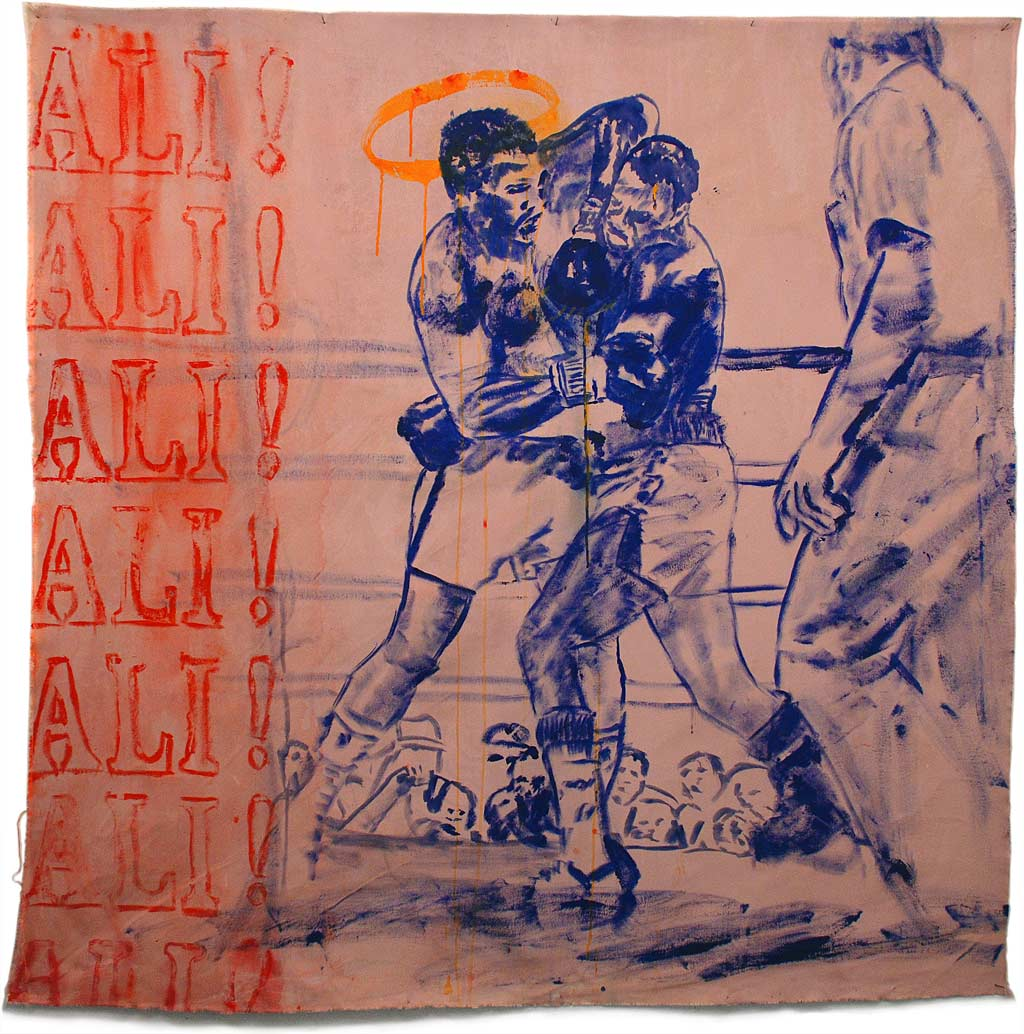 Johnny O'Brady - ALI! ALI! ALI! (Ali vs Holmes, October 2, 1980). mixed media on canvas, approx. 59 x 61″