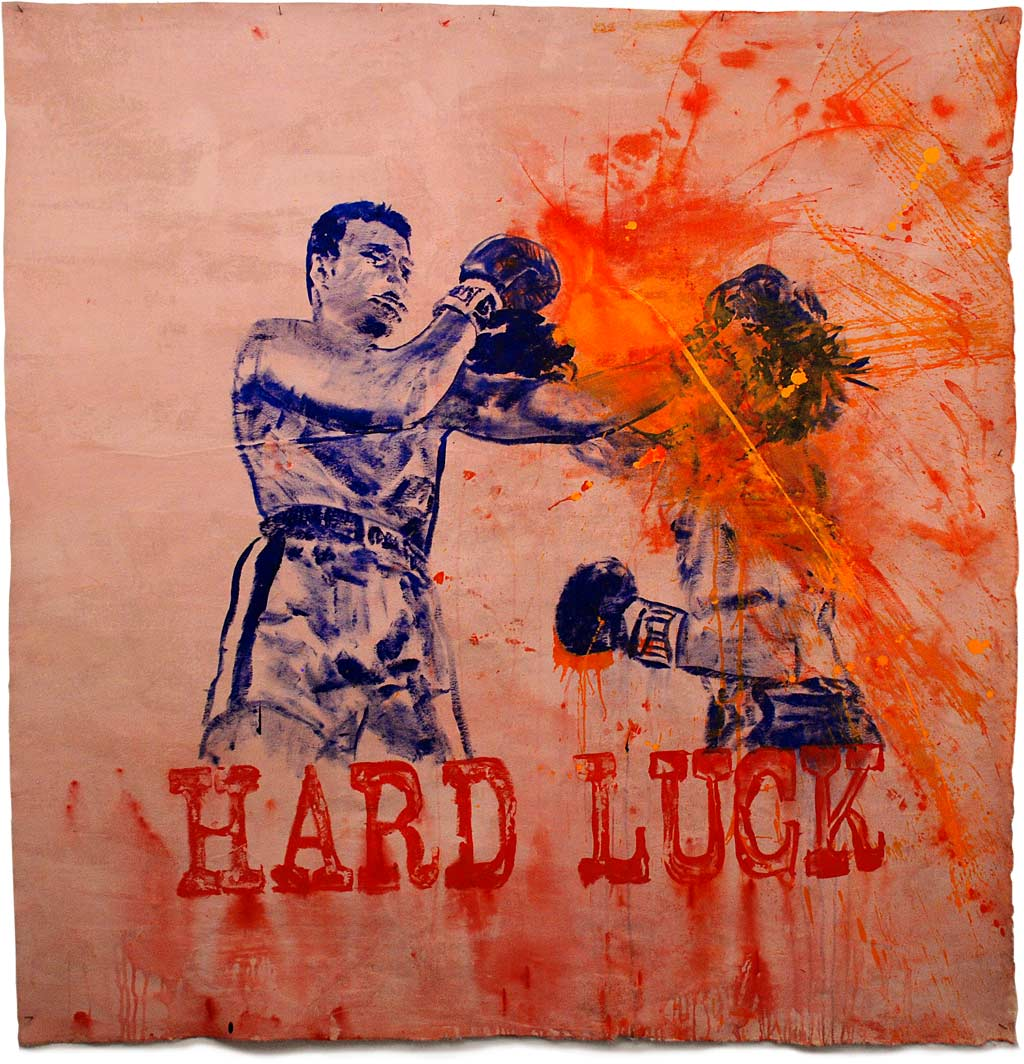 Johnny O'Brady - HARD LUCK (Ali vs Quarry, June 27, 1972). mixed media on canvas, approx. 58 x 57""