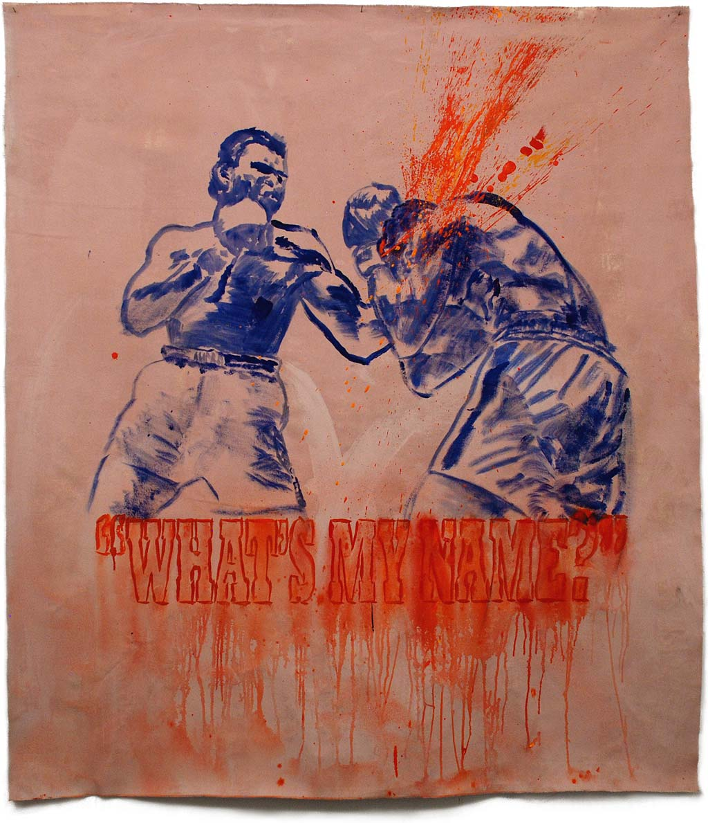 Johnny O'Brady - WHAT'S MY NAME? (Ali vs Terrell, February 6, 1967).  mixed media on canvas, approx. 60 x 53""