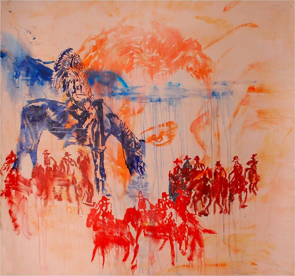 """Johnny O'Brady - SHADOW OF THE EAGLE. mixed media on canvas, 59 x 59"""""""