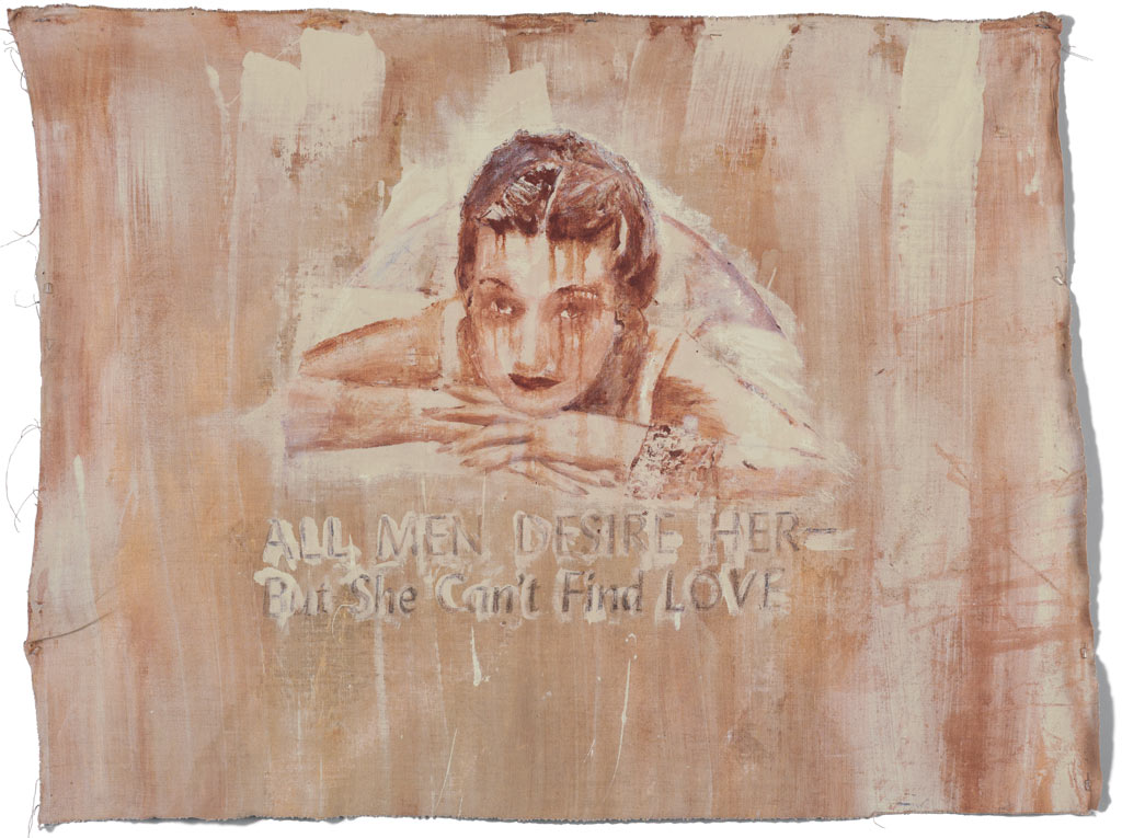 Johnny O'Brady - ALL MEN DESIRE HER -But She Can't Find LOVE. mixed media on linen, 34 x 45 in