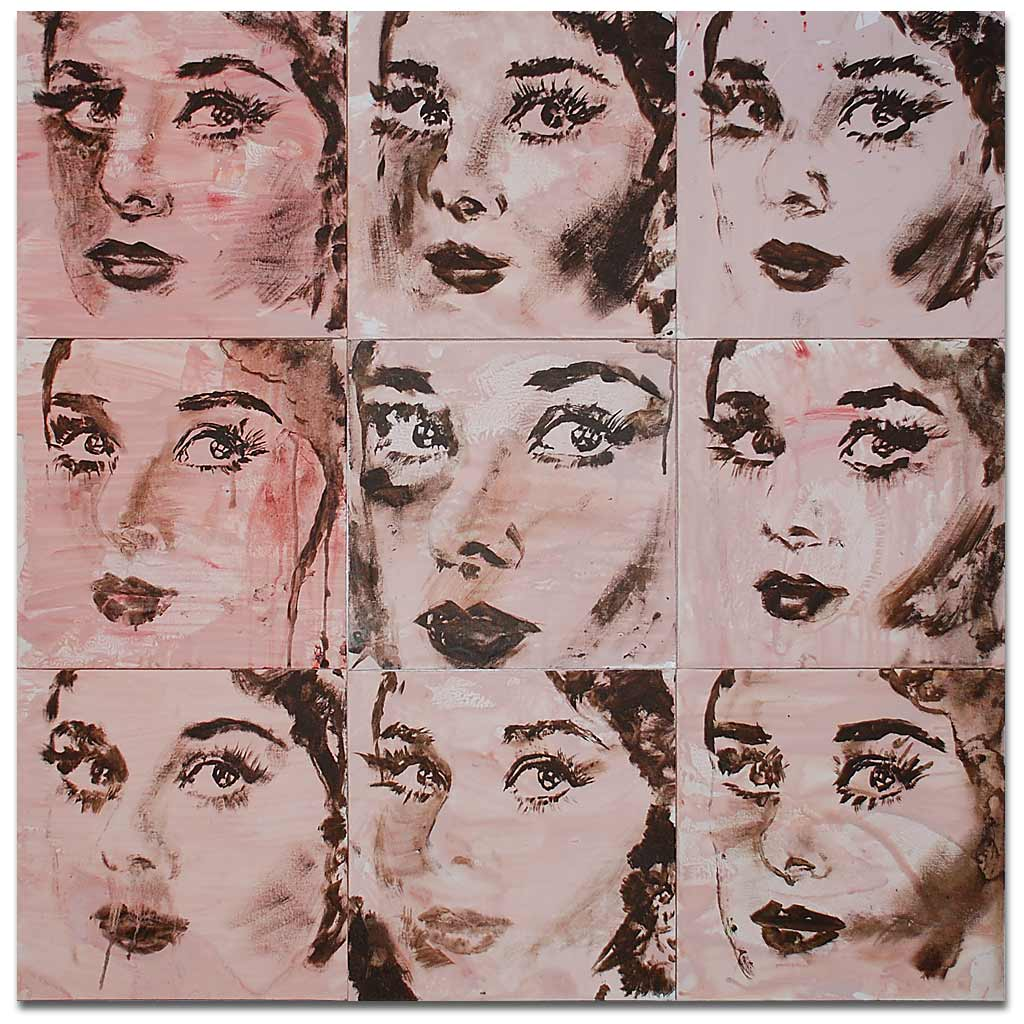 Johnny O'Brady - UNDERSTUDY 3 (Audrey). acrylic on canvas panels, 36 x 36 in