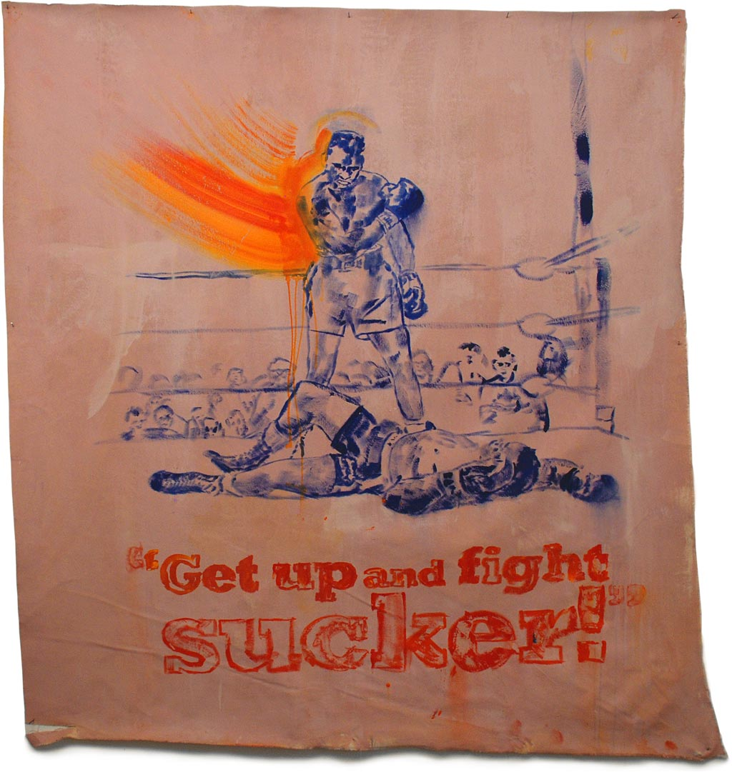 """GET UP AND FIGHT, SUCKER! Johnny O'Brady GET UP AND FIGHT, SUCKER! - (Ali vs Liston, May 25, 1965) - mixed media on canvas, 60 x 55.5"""""""
