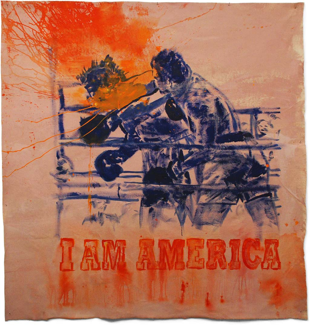 "Johnny O'Brady - I AM AMERICA (Ali vs Foreman, October 30, 1974, AKA ""The Rumble in the Jungle""). mixed media on canvas, 59 x 57"""