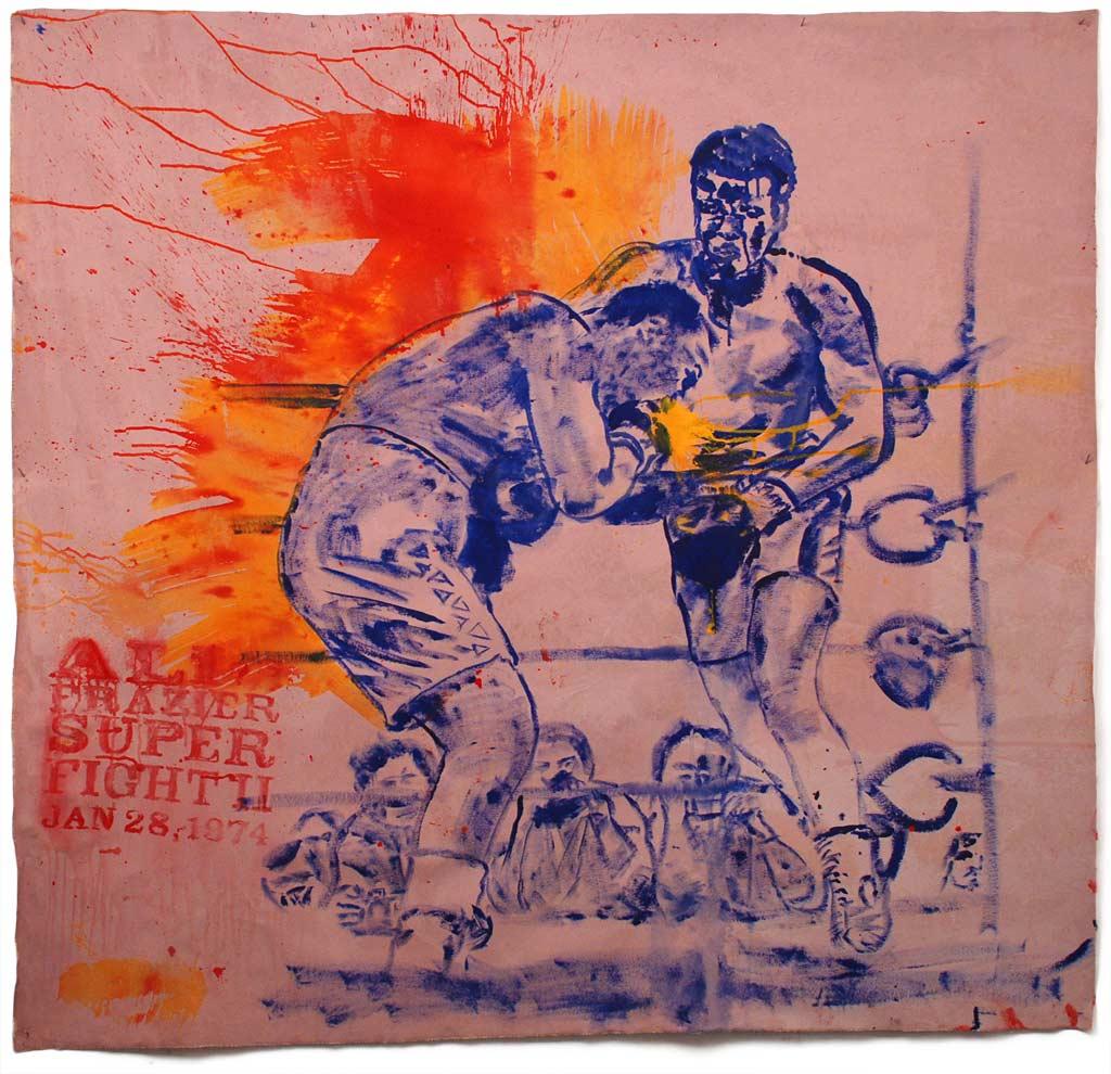 SUPERFIGHT II - Johnny O'Brady - SUPERFIGHT II (Ali vs Frazier, January 28, 1974). acrylic on canvas